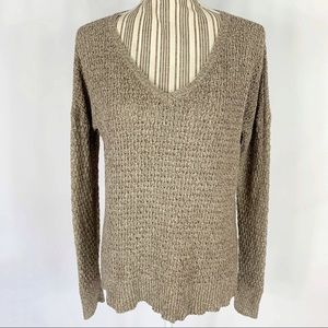 AEO Brown V-Neck Boxy Lightweight Pullover Sweater